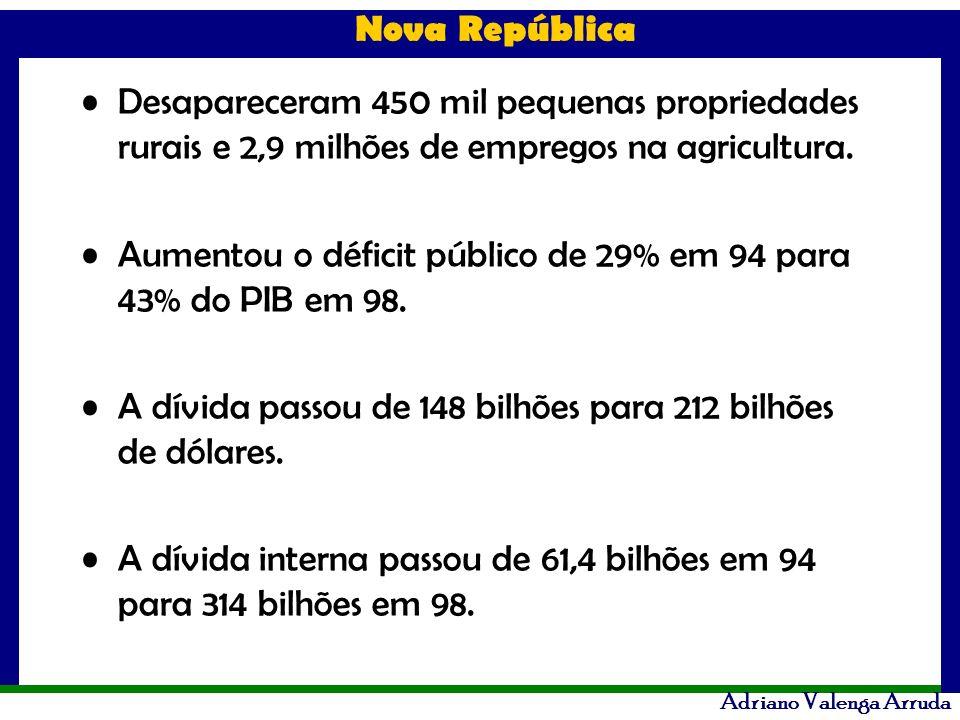 Desapareceram 450 mil pequenas propriedades rurais e 2,9 milhões de empregos na agricultura.