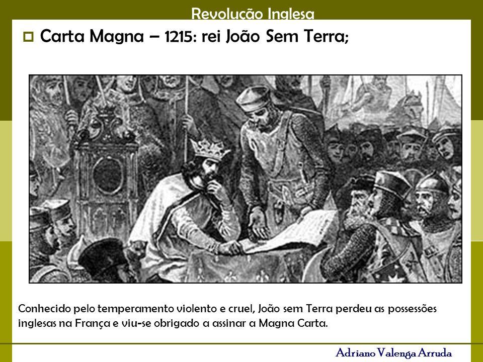 Carta Magna – 1215: rei João Sem Terra;