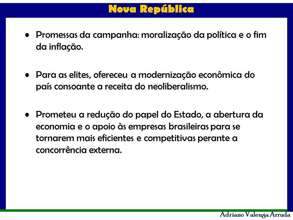 Promessas da campanha: moralização da política e o fim da inflação.