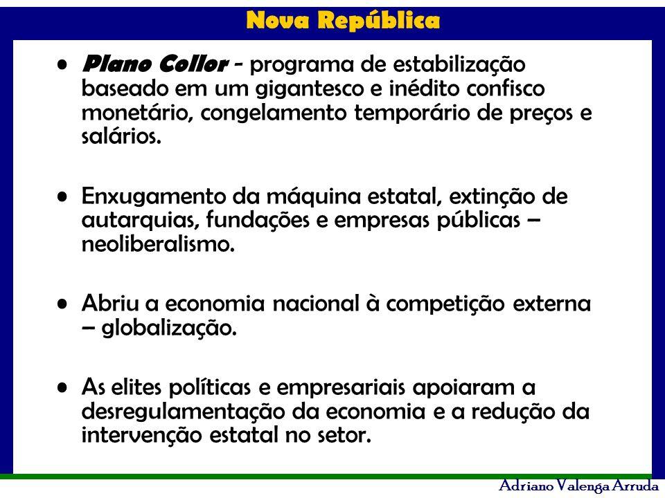 Plano Collor - programa de estabilização baseado em um gigantesco e inédito confisco monetário, congelamento temporário de preços e salários.