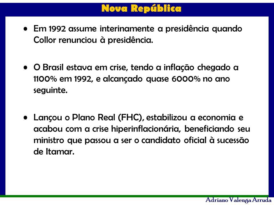 Em 1992 assume interinamente a presidência quando Collor renunciou à presidência.