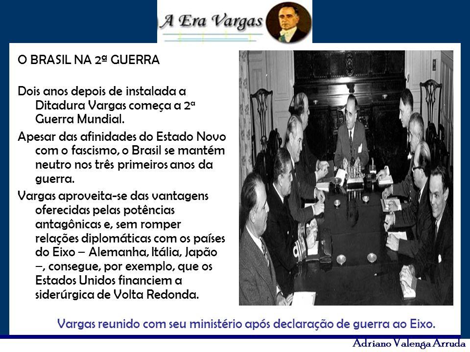 O BRASIL NA 2ª GUERRA Dois anos depois de instalada a Ditadura Vargas começa a 2a Guerra Mundial.
