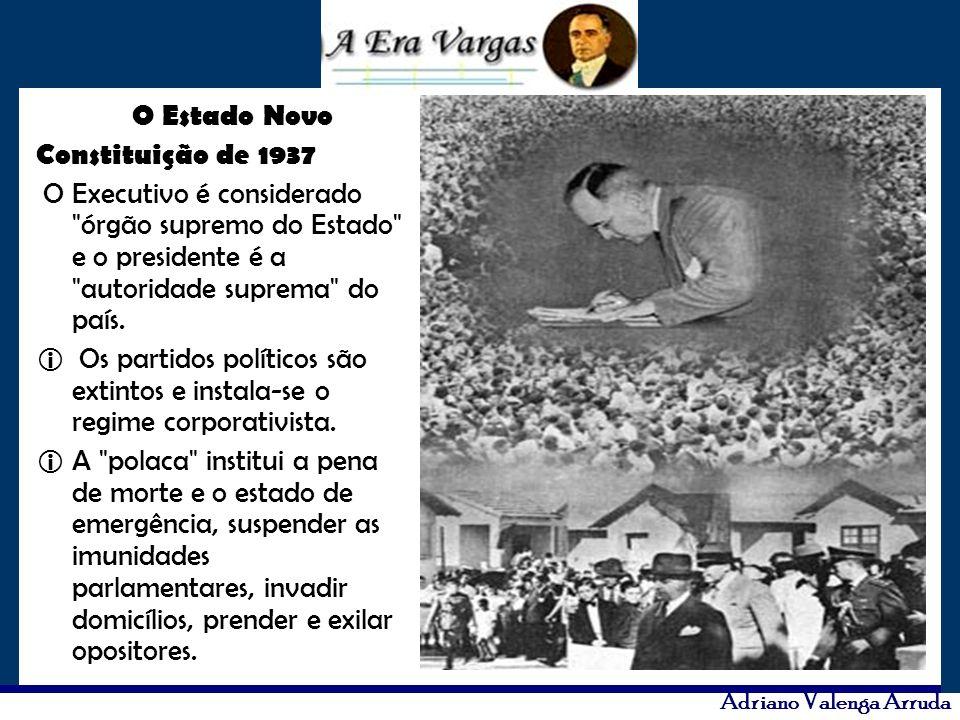 O Estado Novo Constituição de 1937. O Executivo é considerado órgão supremo do Estado e o presidente é a autoridade suprema do país.
