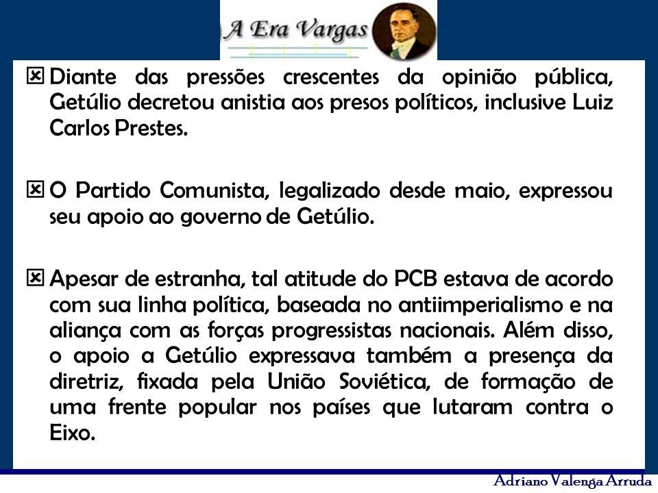 Diante das pressões crescentes da opinião pública, Getúlio decretou anistia aos presos políticos, inclusive Luiz Carlos Prestes.