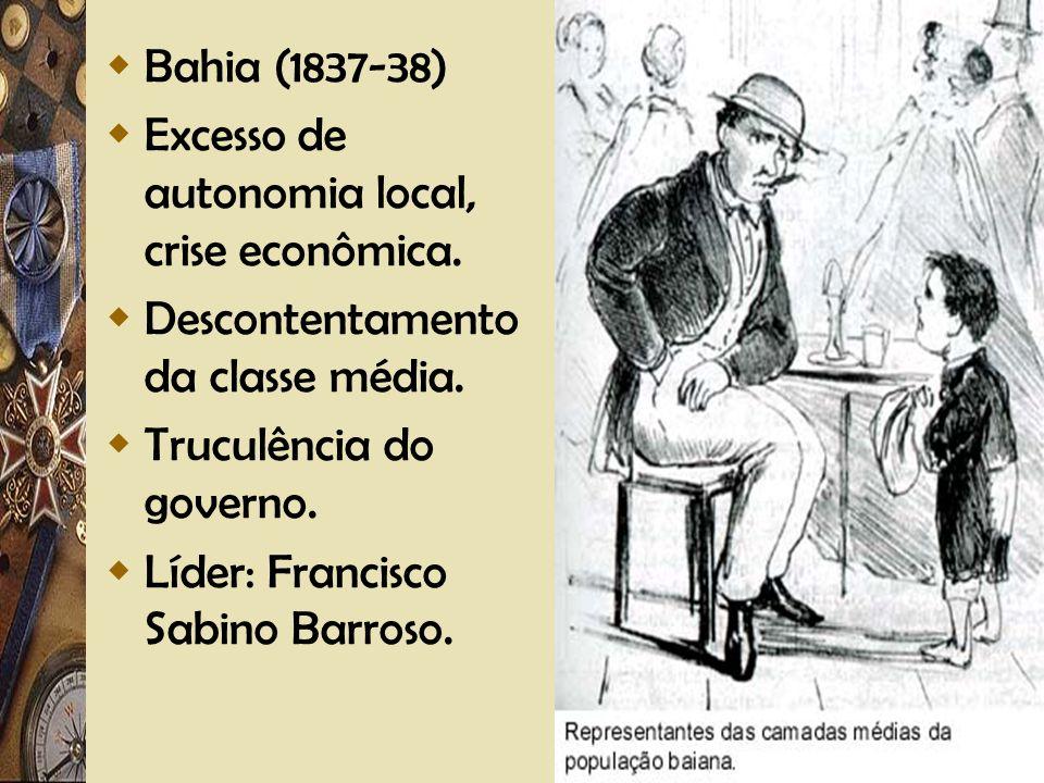 Bahia (1837-38) Excesso de autonomia local, crise econômica. Descontentamento da classe média. Truculência do governo.