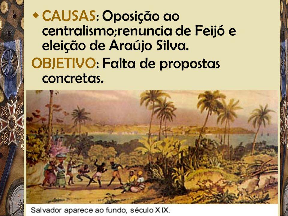 CAUSAS: Oposição ao centralismo;renuncia de Feijó e eleição de Araújo Silva.