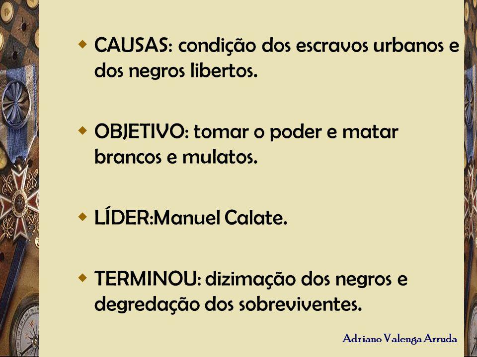 CAUSAS: condição dos escravos urbanos e dos negros libertos.