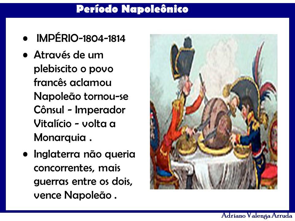 IMPÉRIO-1804-1814 Através de um plebiscito o povo francês aclamou Napoleão tornou-se Cônsul - Imperador Vitalício - volta a Monarquia .