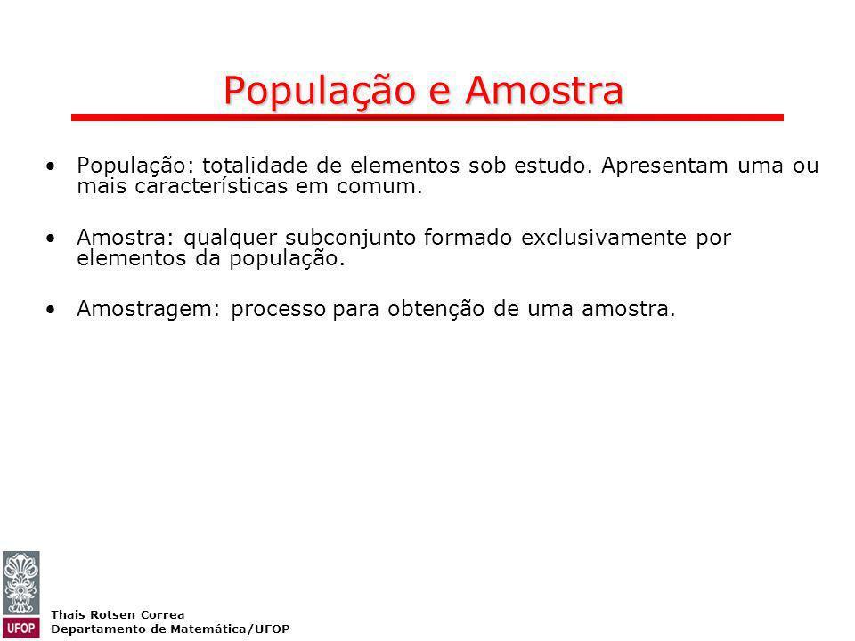 População e Amostra População: totalidade de elementos sob estudo. Apresentam uma ou mais características em comum.