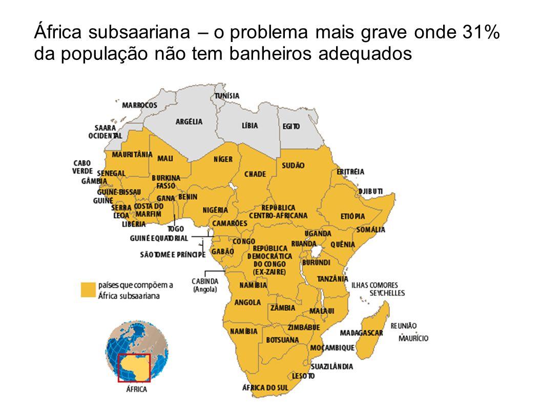 África subsaariana – o problema mais grave onde 31% da população não tem banheiros adequados