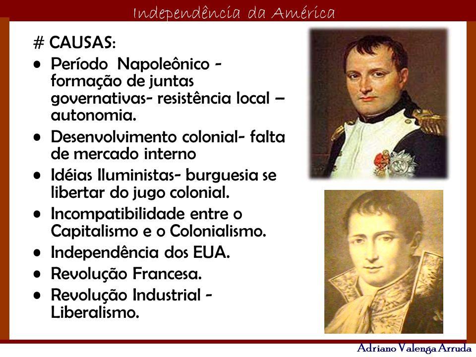 # CAUSAS: Período Napoleônico - formação de juntas governativas- resistência local – autonomia. Desenvolvimento colonial- falta de mercado interno.