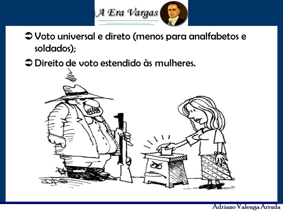 Voto universal e direto (menos para analfabetos e soldados);