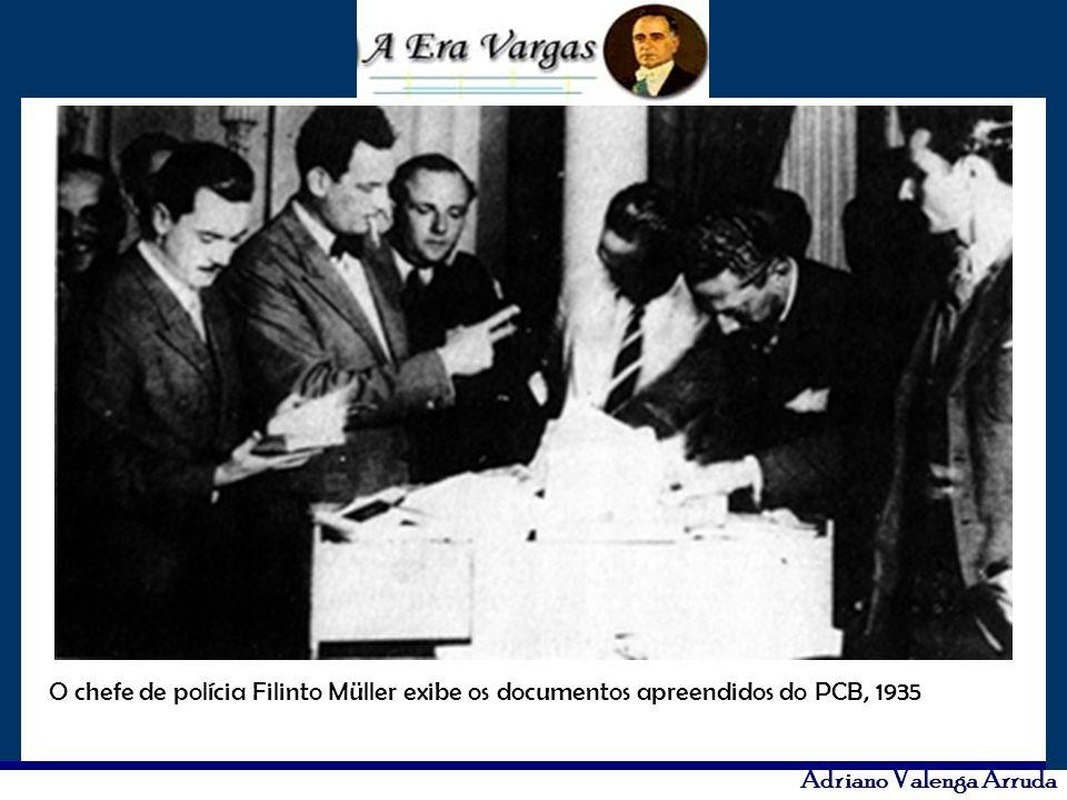 O chefe de polícia Filinto Müller exibe os documentos apreendidos do PCB, 1935
