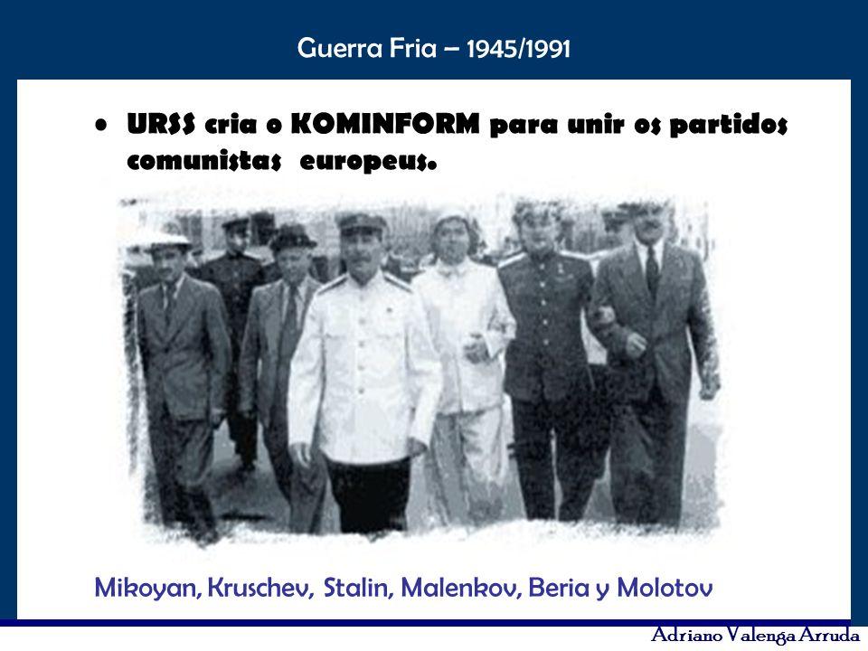URSS cria o KOMINFORM para unir os partidos comunistas europeus.