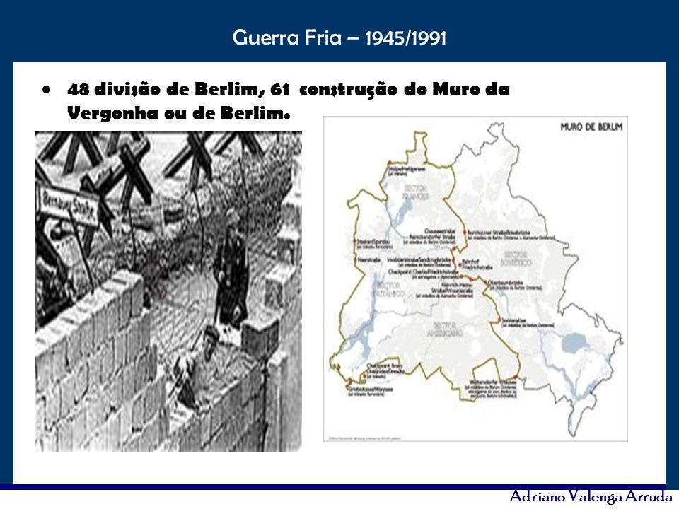 48 divisão de Berlim, 61 construção do Muro da Vergonha ou de Berlim.