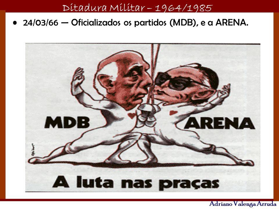 24/03/66 — Oficializados os partidos (MDB), e a ARENA.