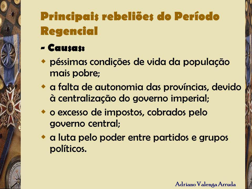 Principais rebeliões do Período Regencial