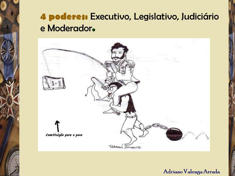 4 poderes: Executivo, Legislativo, Judiciário e Moderador.