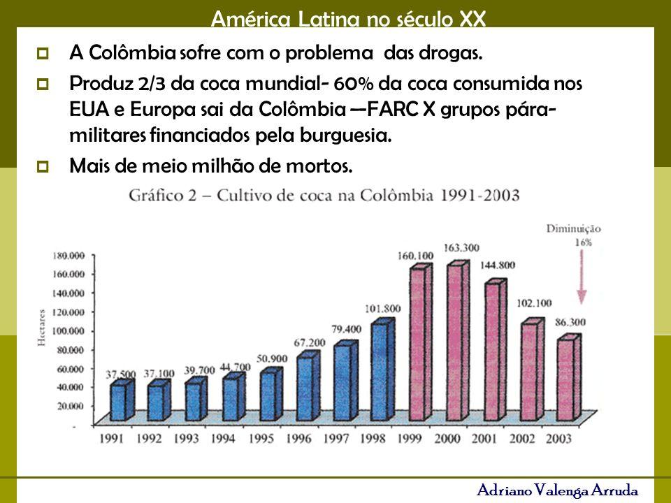 A Colômbia sofre com o problema das drogas.