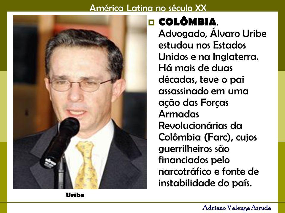 COLÔMBIA. Advogado, Álvaro Uribe estudou nos Estados Unidos e na Inglaterra. Há mais de duas décadas, teve o pai assassinado em uma ação das Forças Armadas Revolucionárias da Colômbia (Farc), cujos guerrilheiros são financiados pelo narcotráfico e fonte de instabilidade do país.