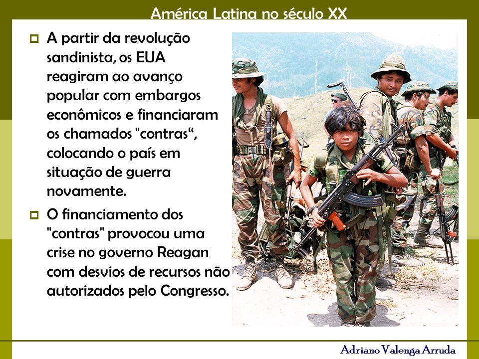 A partir da revolução sandinista, os EUA reagiram ao avanço popular com embargos econômicos e financiaram os chamados contras , colocando o país em situação de guerra novamente.