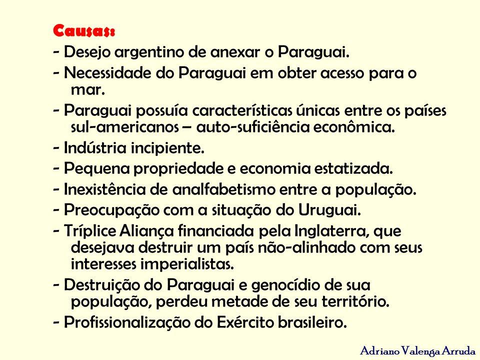 Causas: - Desejo argentino de anexar o Paraguai. - Necessidade do Paraguai em obter acesso para o mar.