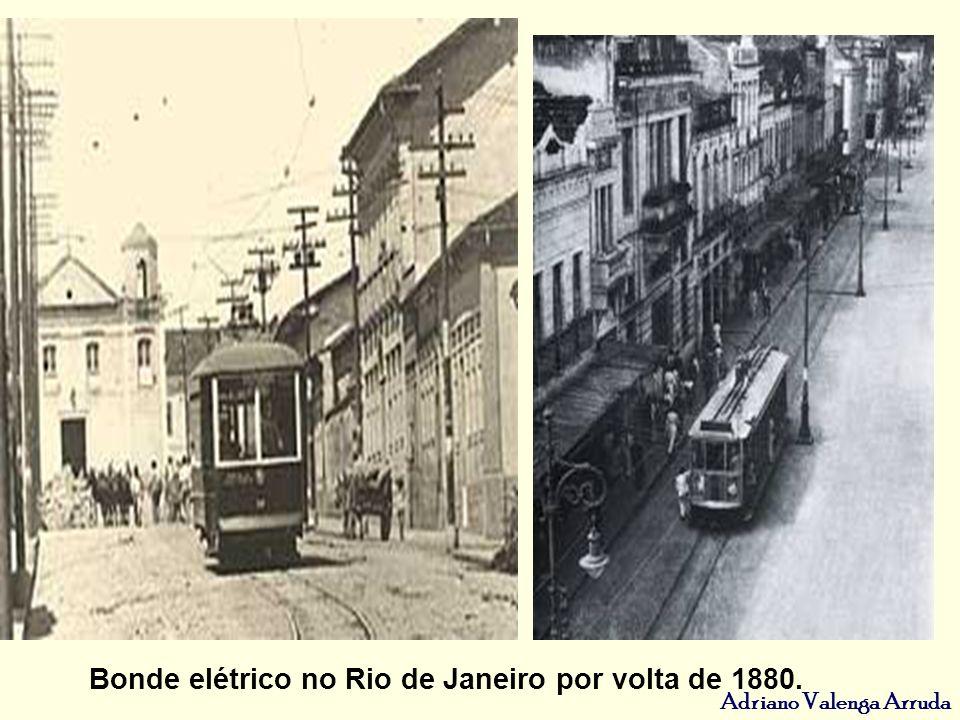 Bonde elétrico no Rio de Janeiro por volta de 1880.