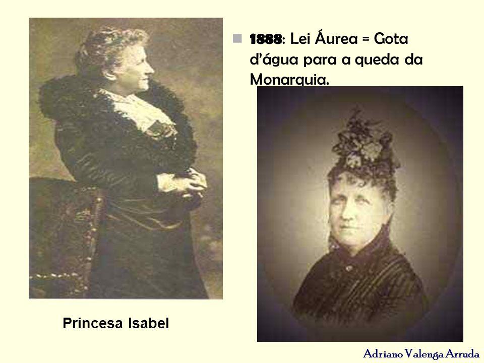 1888: Lei Áurea = Gota d'água para a queda da Monarquia.