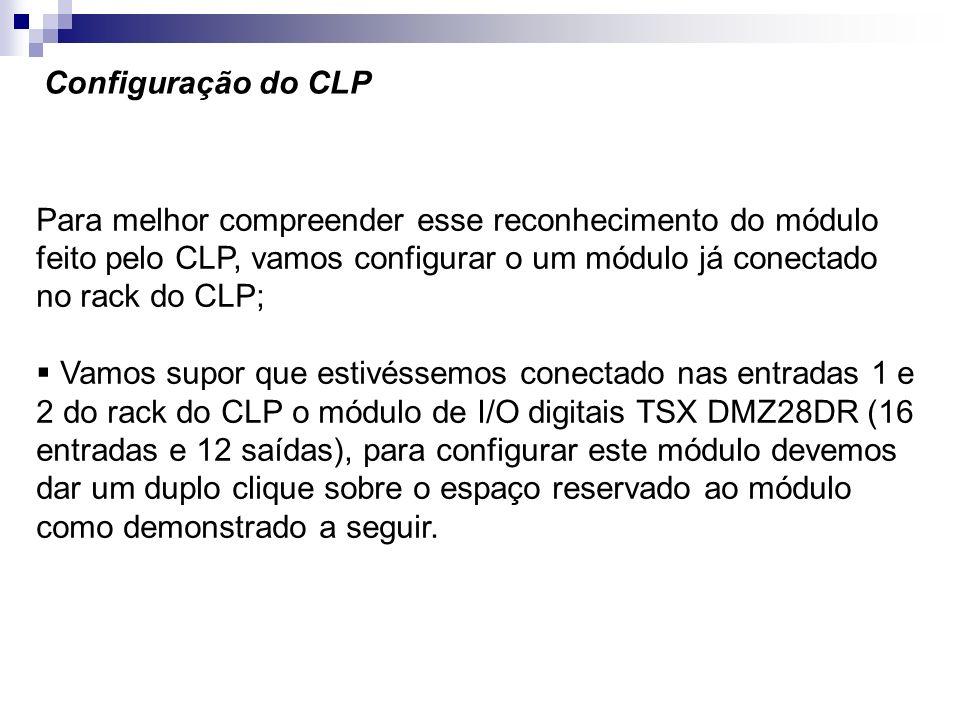Configuração do CLPPara melhor compreender esse reconhecimento do módulo feito pelo CLP, vamos configurar o um módulo já conectado no rack do CLP;