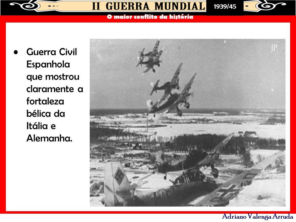 Guerra Civil Espanhola que mostrou claramente a fortaleza bélica da Itália e Alemanha.
