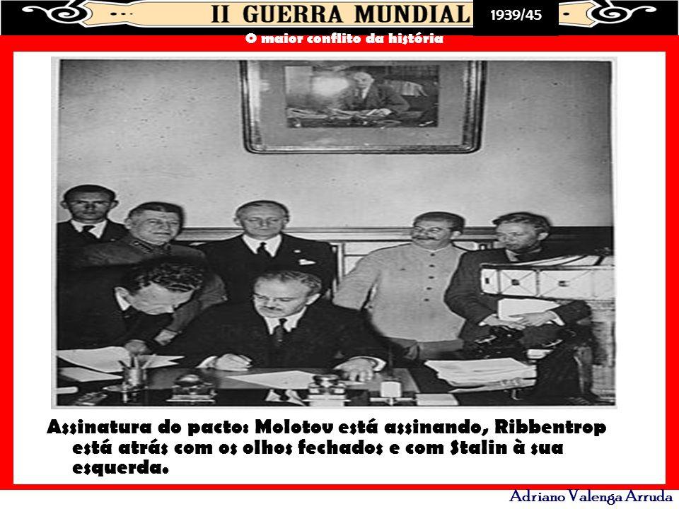 Assinatura do pacto: Molotov está assinando, Ribbentrop está atrás com os olhos fechados e com Stalin à sua esquerda.