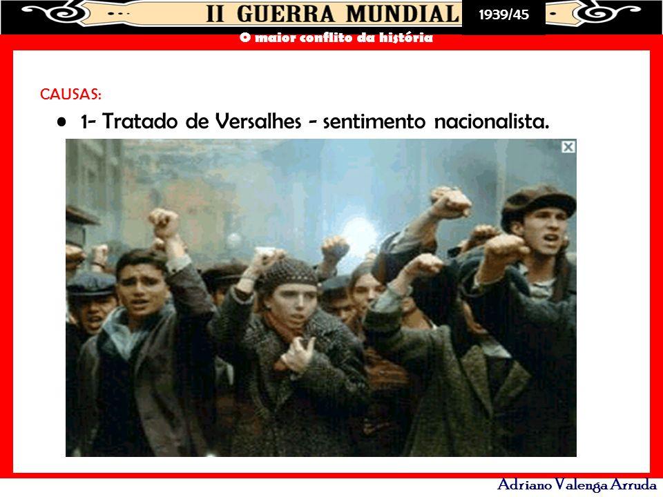 1- Tratado de Versalhes - sentimento nacionalista.