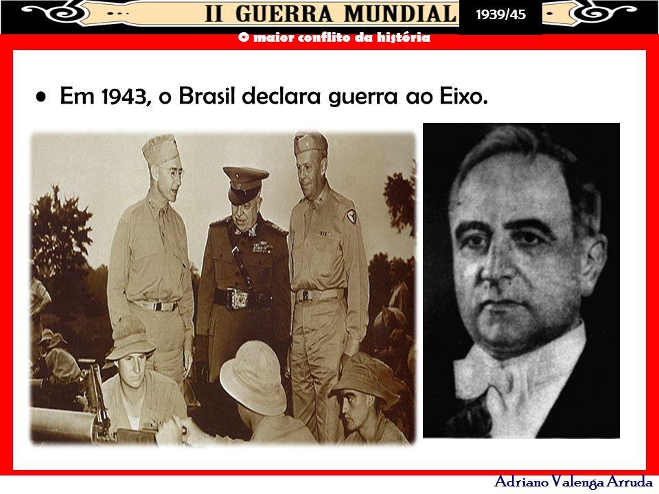 Em 1943, o Brasil declara guerra ao Eixo.