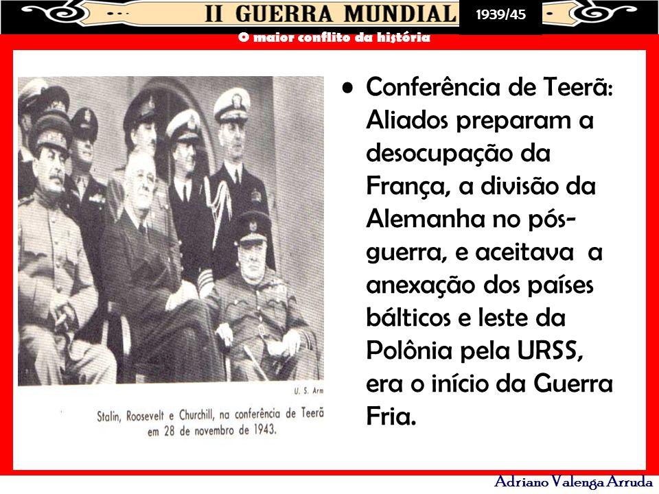 Conferência de Teerã: Aliados preparam a desocupação da França, a divisão da Alemanha no pós-guerra, e aceitava a anexação dos países bálticos e leste da Polônia pela URSS, era o início da Guerra Fria.