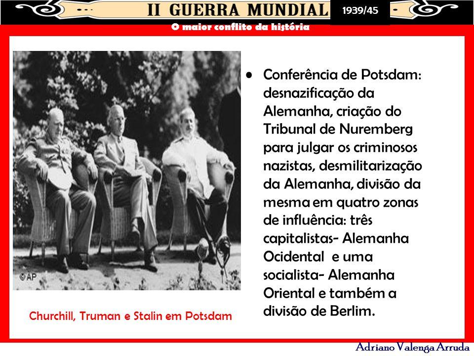 Conferência de Potsdam: desnazificação da Alemanha, criação do Tribunal de Nuremberg para julgar os criminosos nazistas, desmilitarização da Alemanha, divisão da mesma em quatro zonas de influência: três capitalistas- Alemanha Ocidental e uma socialista- Alemanha Oriental e também a divisão de Berlim.