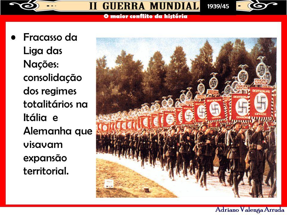 Fracasso da Liga das Nações: consolidação dos regimes totalitários na Itália e Alemanha que visavam expansão territorial.