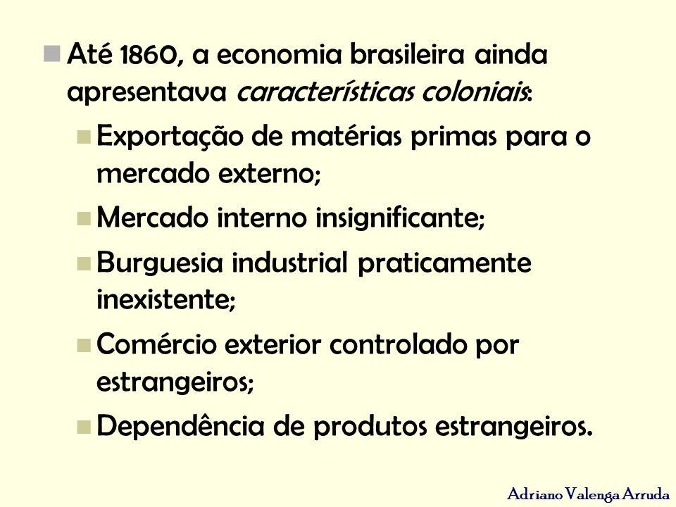 Até 1860, a economia brasileira ainda apresentava características coloniais: