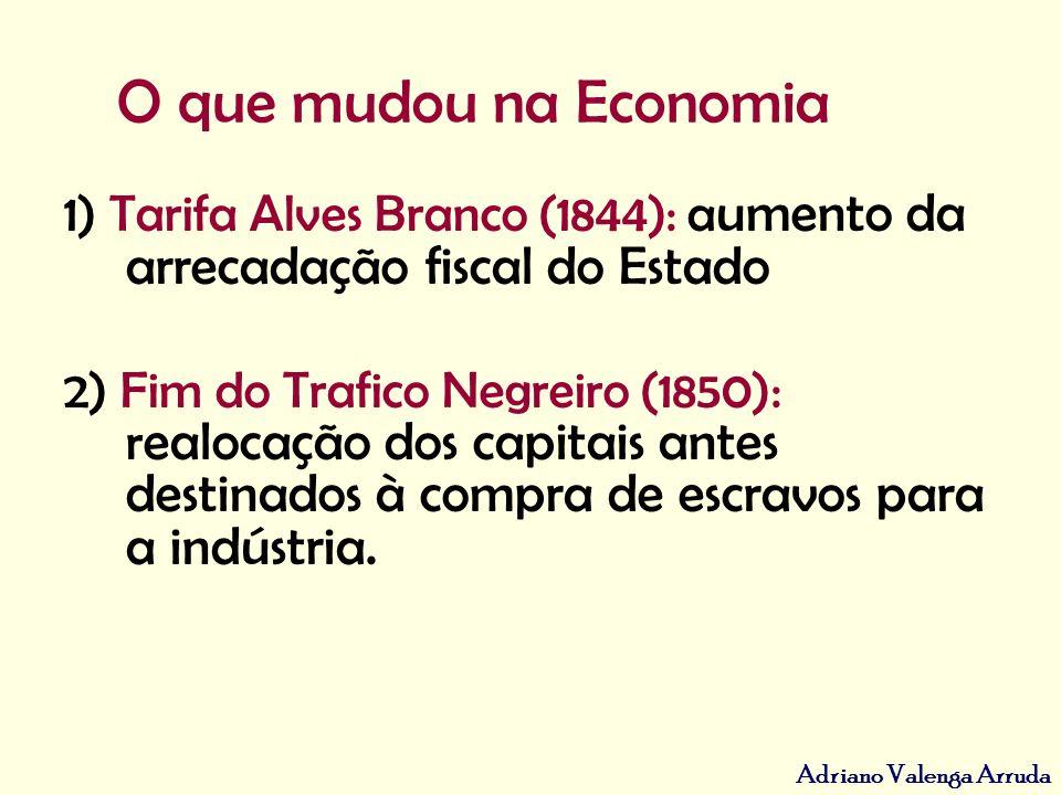 O que mudou na Economia 1) Tarifa Alves Branco (1844): aumento da arrecadação fiscal do Estado.