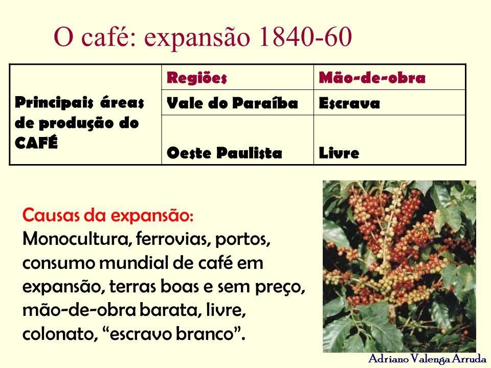 O café: expansão 1840-60 Causas da expansão: