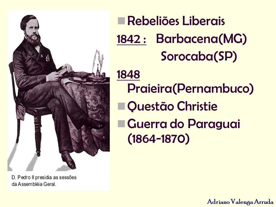 Rebeliões Liberais 1842 : Barbacena(MG) Sorocaba(SP) 1848 Praieira(Pernambuco) Questão Christie.