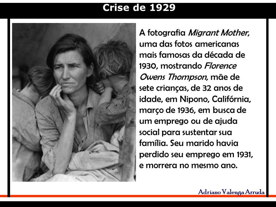 A fotografia Migrant Mother, uma das fotos americanas mais famosas da década de 1930, mostrando Florence Owens Thompson, mãe de sete crianças, de 32 anos de idade, em Nipono, Califórnia, março de 1936, em busca de um emprego ou de ajuda social para sustentar sua família.