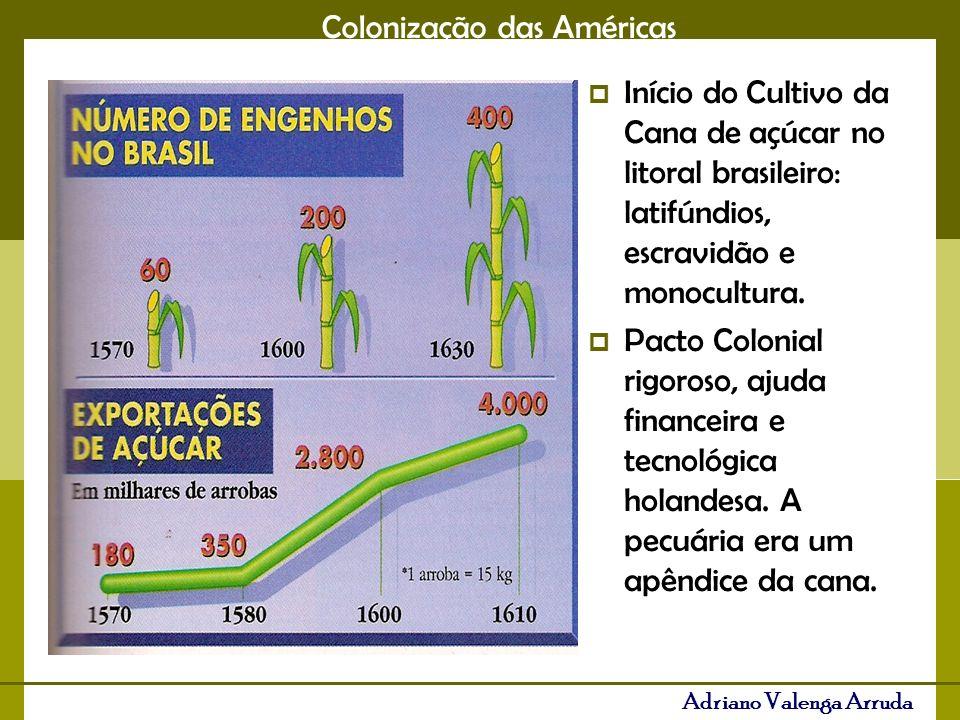 Início do Cultivo da Cana de açúcar no litoral brasileiro: latifúndios, escravidão e monocultura.