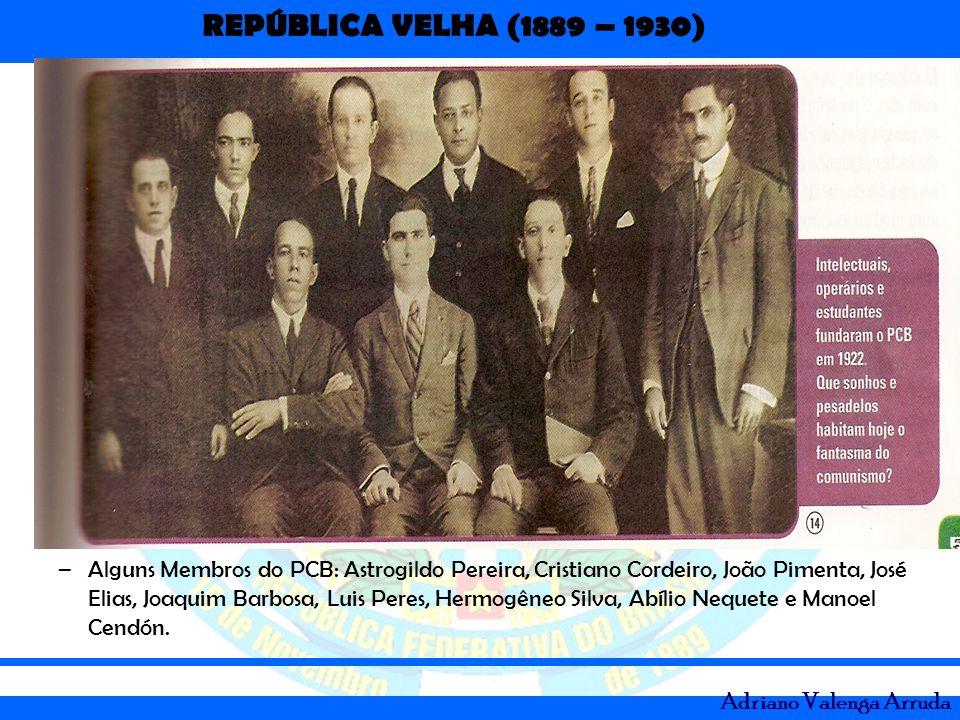 Alguns Membros do PCB: Astrogildo Pereira, Cristiano Cordeiro, João Pimenta, José Elias, Joaquim Barbosa, Luis Peres, Hermogêneo Silva, Abílio Nequete e Manoel Cendón.