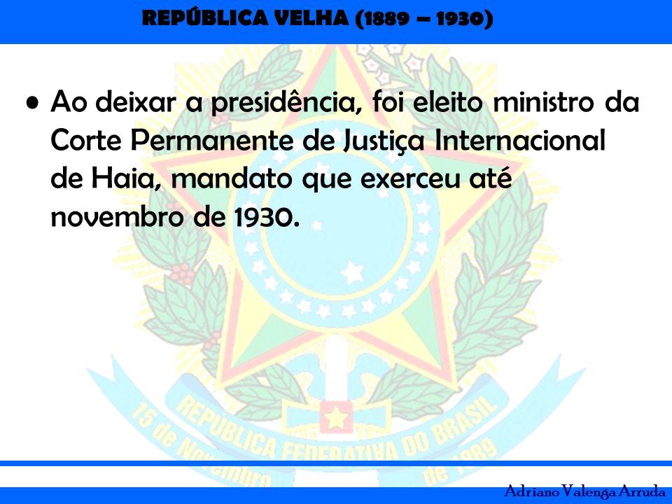 Ao deixar a presidência, foi eleito ministro da Corte Permanente de Justiça Internacional de Haia, mandato que exerceu até novembro de 1930.