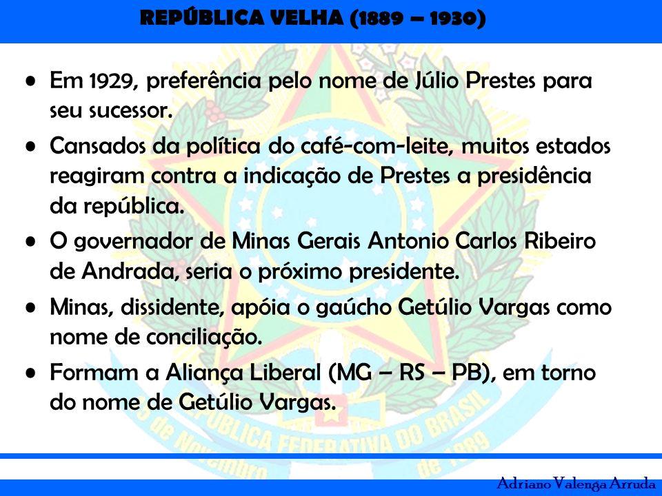 Em 1929, preferência pelo nome de Júlio Prestes para seu sucessor.