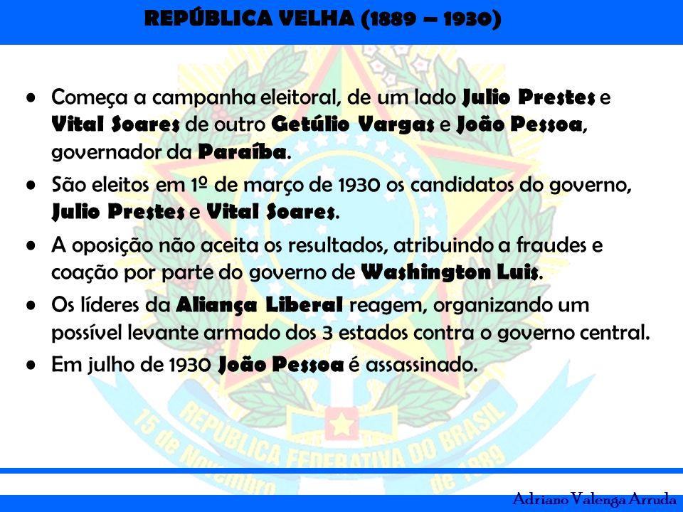 Começa a campanha eleitoral, de um lado Julio Prestes e Vital Soares de outro Getúlio Vargas e João Pessoa, governador da Paraíba.