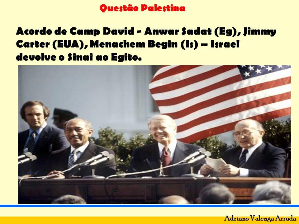 Acordo de Camp David - Anwar Sadat (Eg), Jimmy Carter (EUA), Menachem Begin (Is) – Israel devolve o Sinai ao Egito.