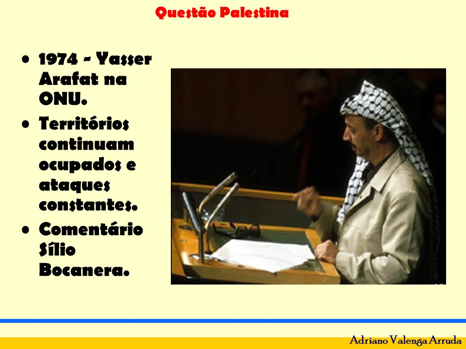 1974 - Yasser Arafat na ONU. Territórios continuam ocupados e ataques constantes.