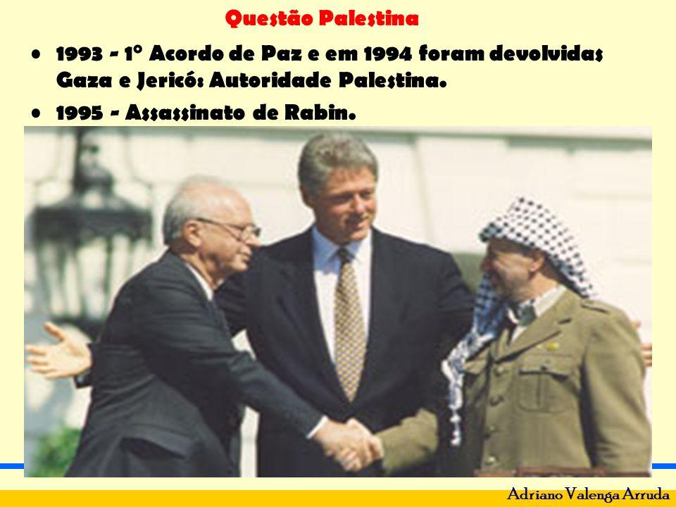 1993 - 1° Acordo de Paz e em 1994 foram devolvidas Gaza e Jericó: Autoridade Palestina.