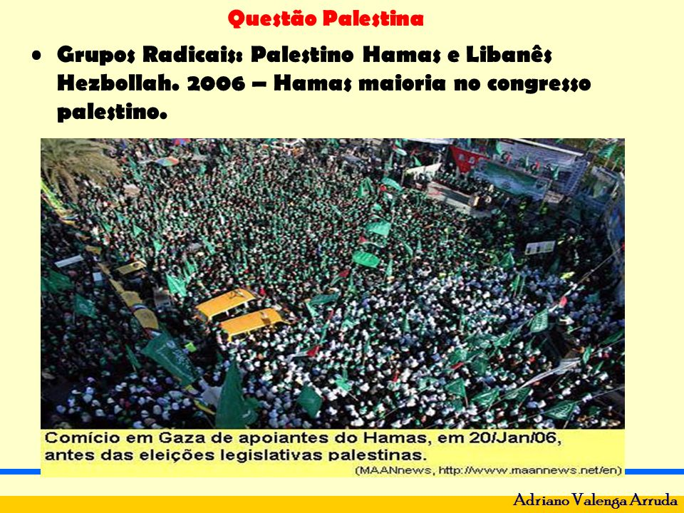 Grupos Radicais: Palestino Hamas e Libanês Hezbollah